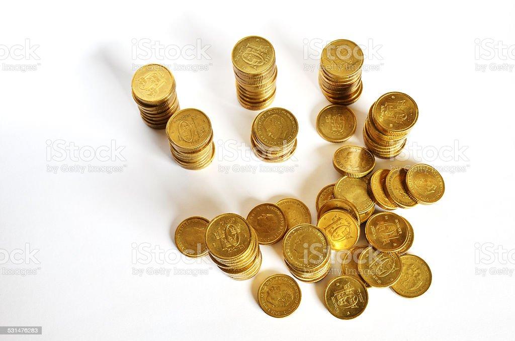 Golden coin savings stock photo