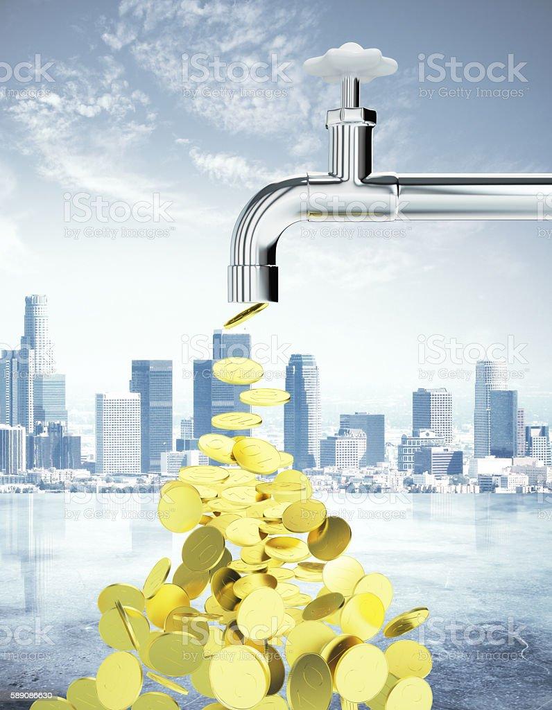 Golden coin tap stock photo