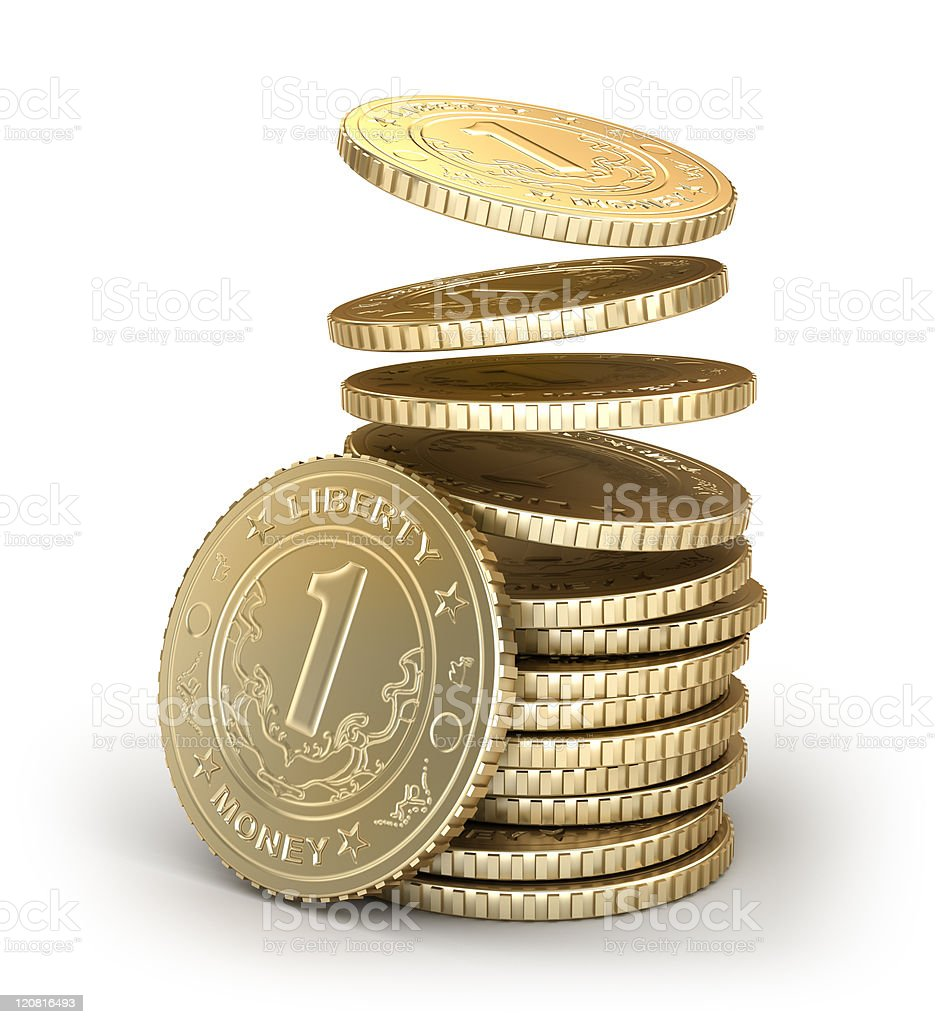 Golden coins falling in pile royalty-free stock photo