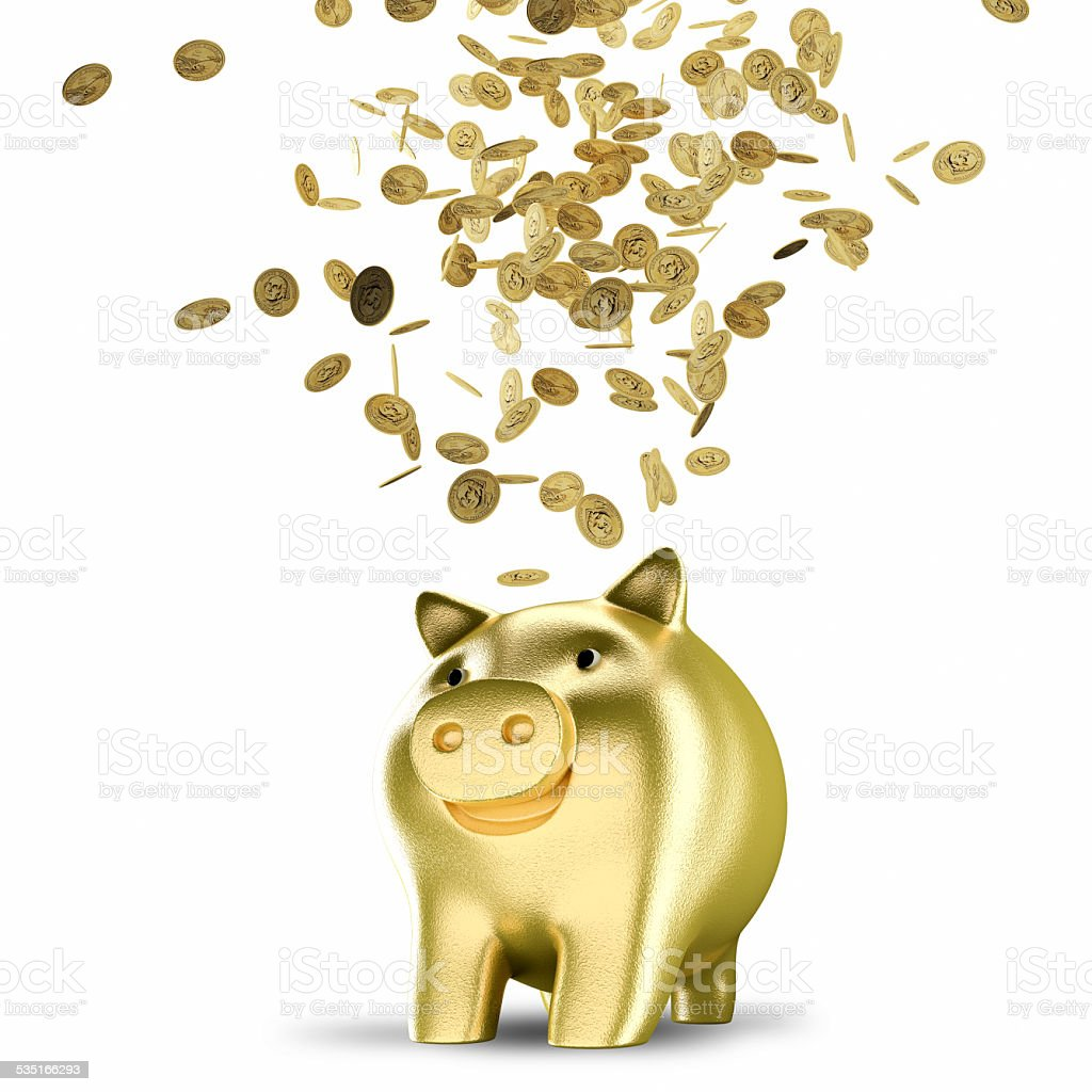 Golden coins falling into a piggy bank stock photo