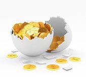 Golden coins in broken egg shell