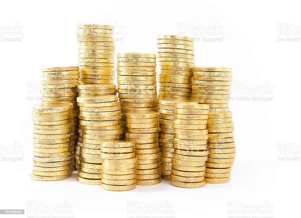 golden coins on white stock photo
