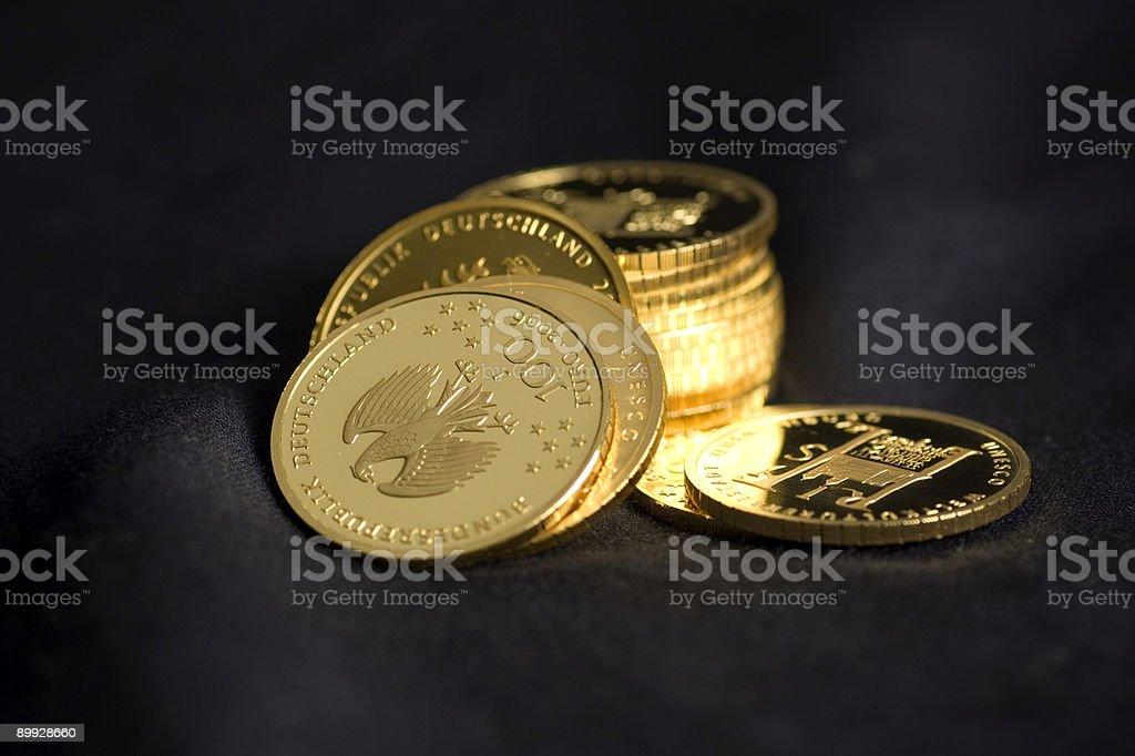 Golden coins stock photo