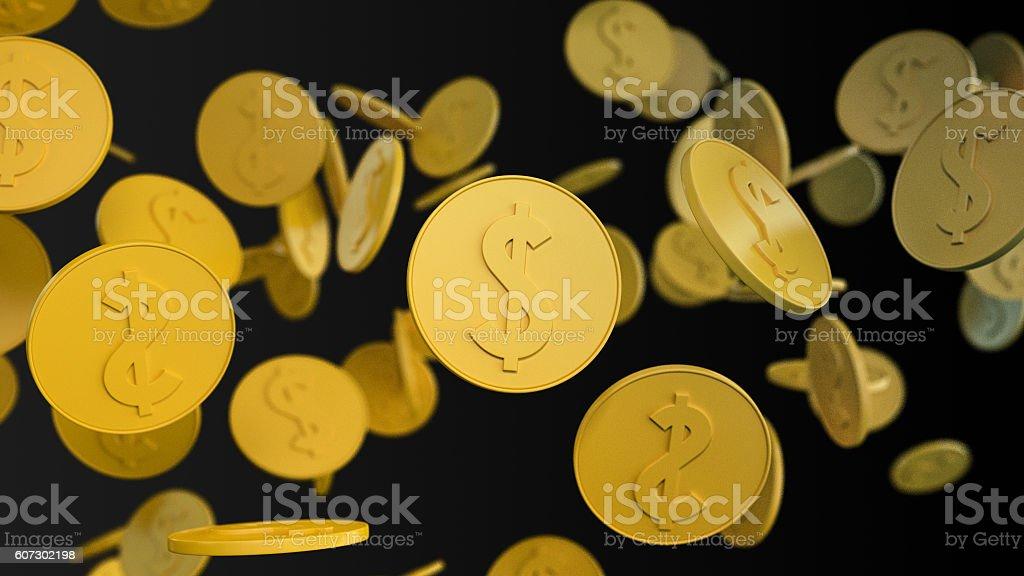 Golden coins rain stock photo