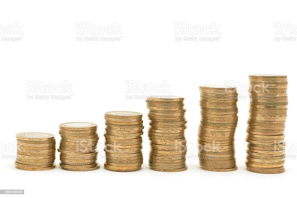 Golden coins raising chart stock photo