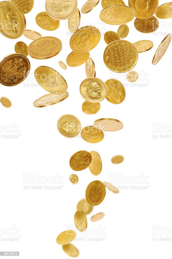 Golden coins that are falling from the sky  stock photo