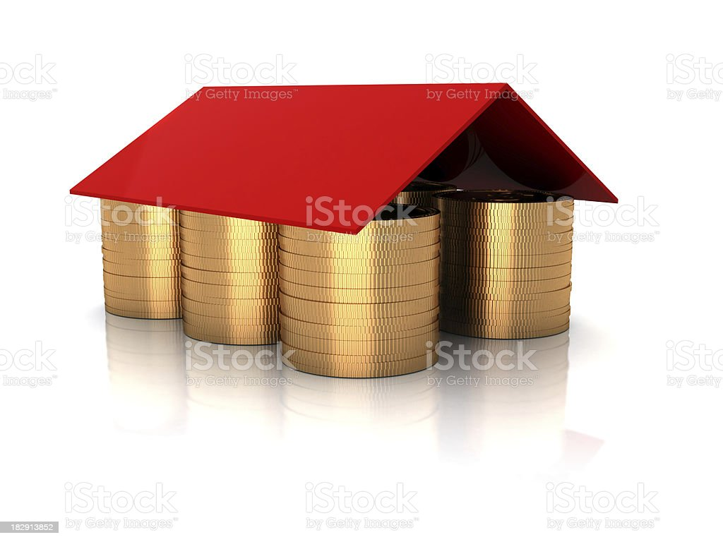 Golden coins under Roof stock photo