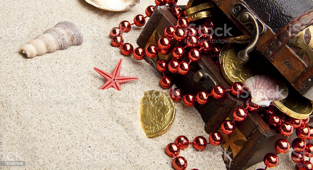 golden coins with marine treasures royalty-free stock photo