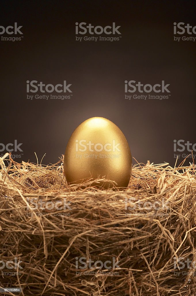 Golden colored egg sitting upright in the middle of a nest stock photo