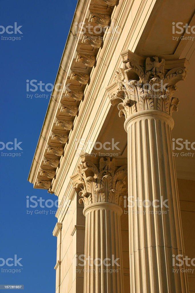 Golden Columns, Blue Sky stock photo