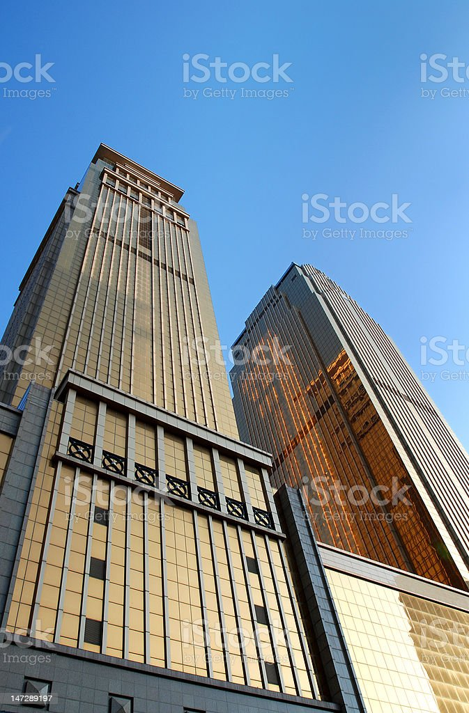 Golden Commercial Buildings royalty-free stock photo