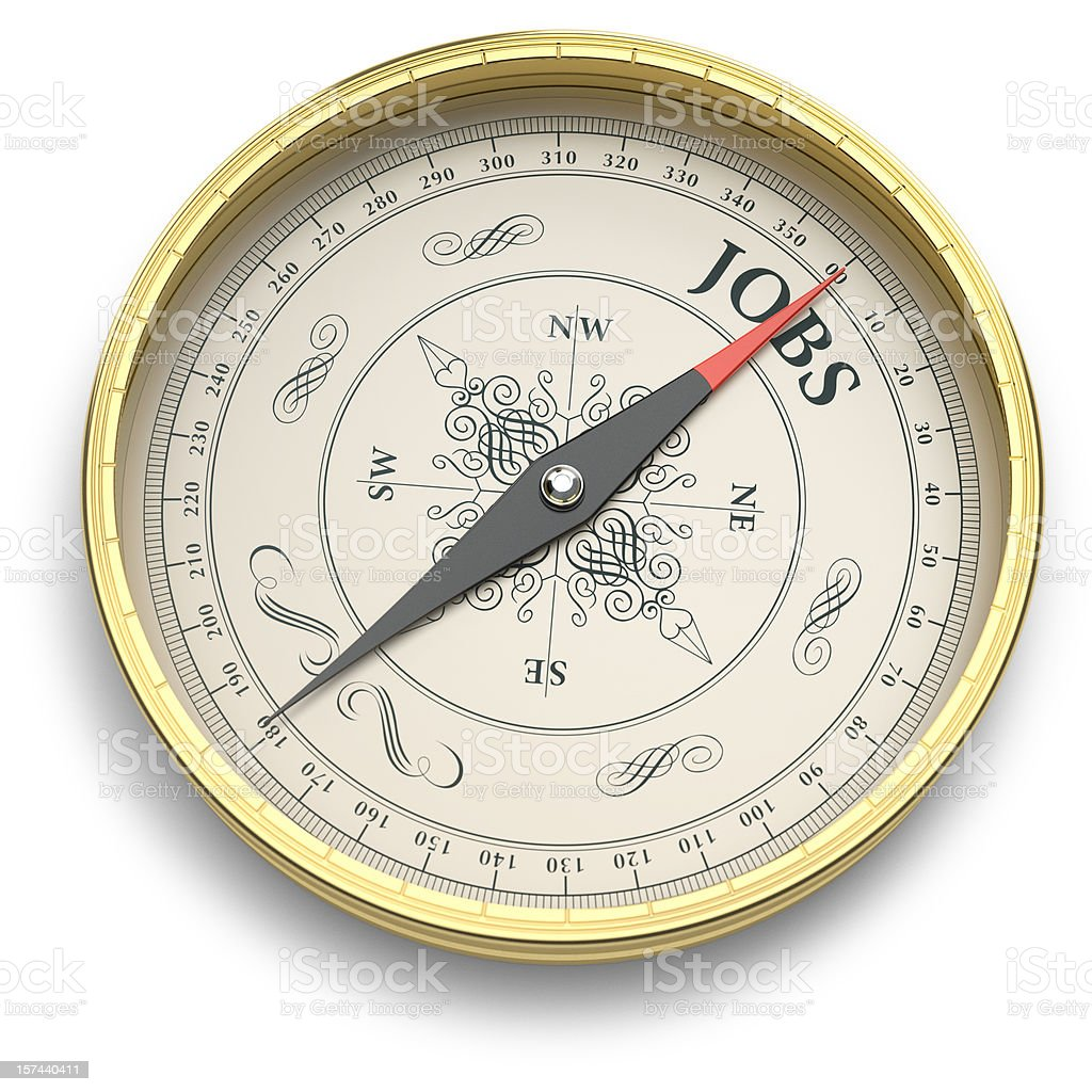 Golden Compass pointing to Jobs royalty-free stock photo