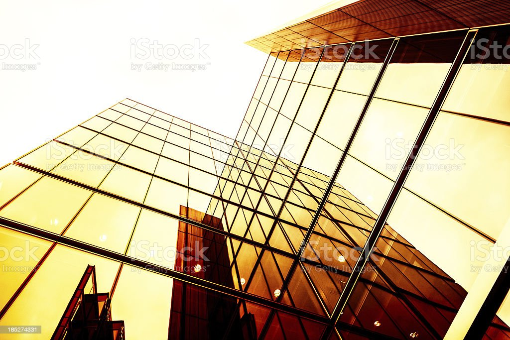 Golden Contemporary Building, Glass Architecture royalty-free stock photo