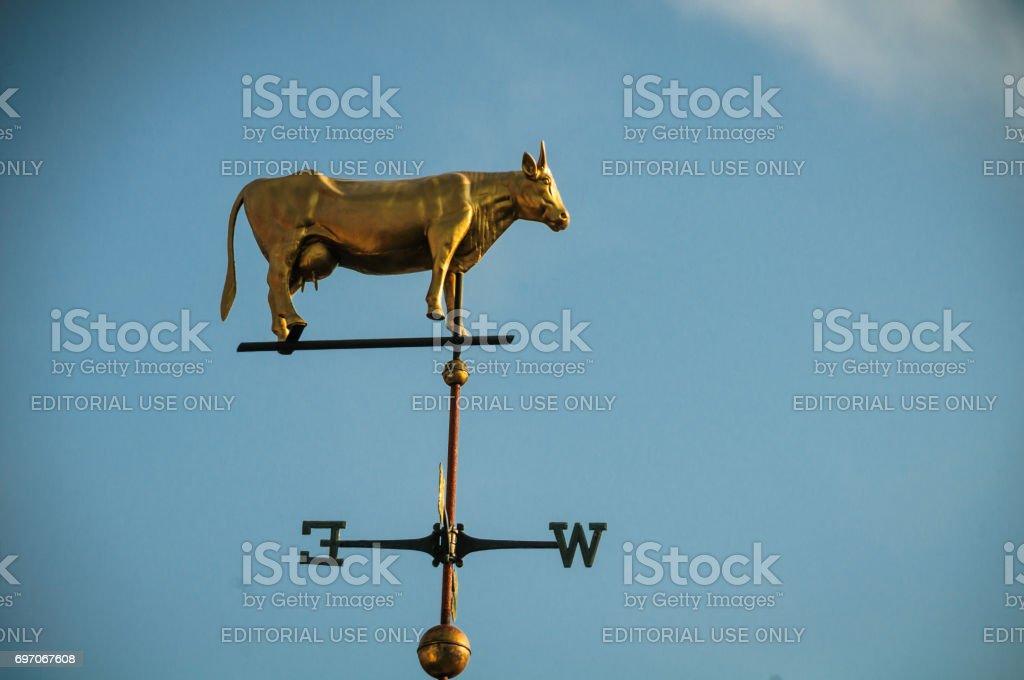 Golden Cow Weathervane stock photo