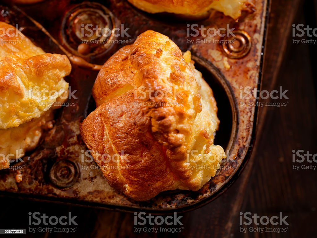 Golden, Crispy Yorkshire Puddings stock photo