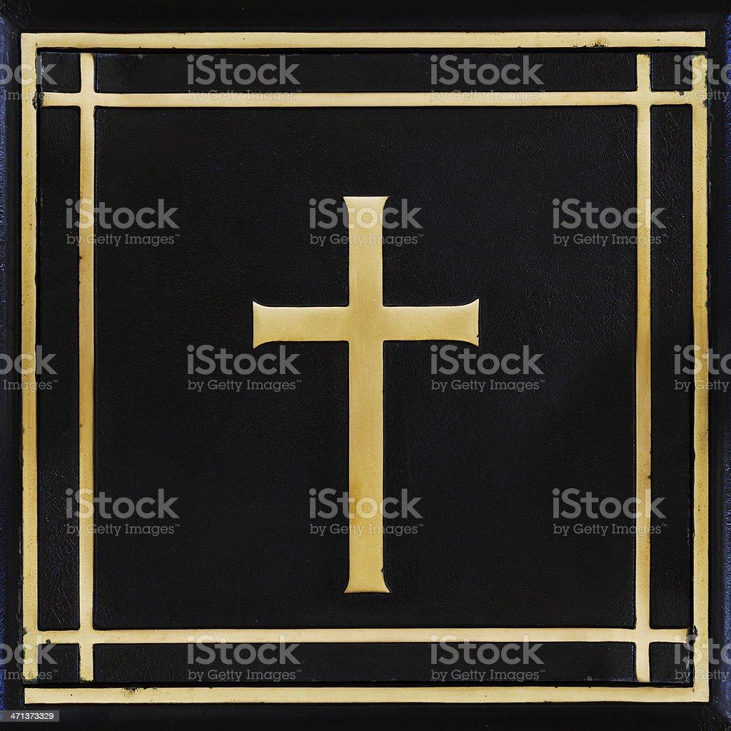Golden cross, on black stock photo