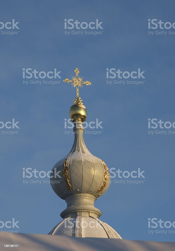 golden cross, smolny cathedral, saint petersburg royalty-free stock photo