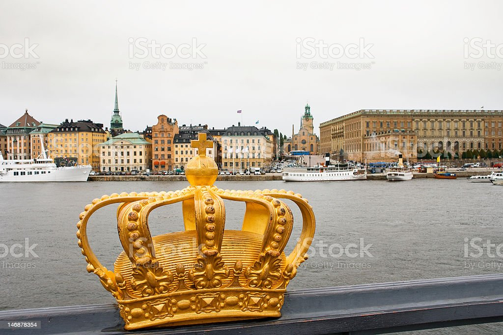Golden crown in Stockholm royalty-free stock photo