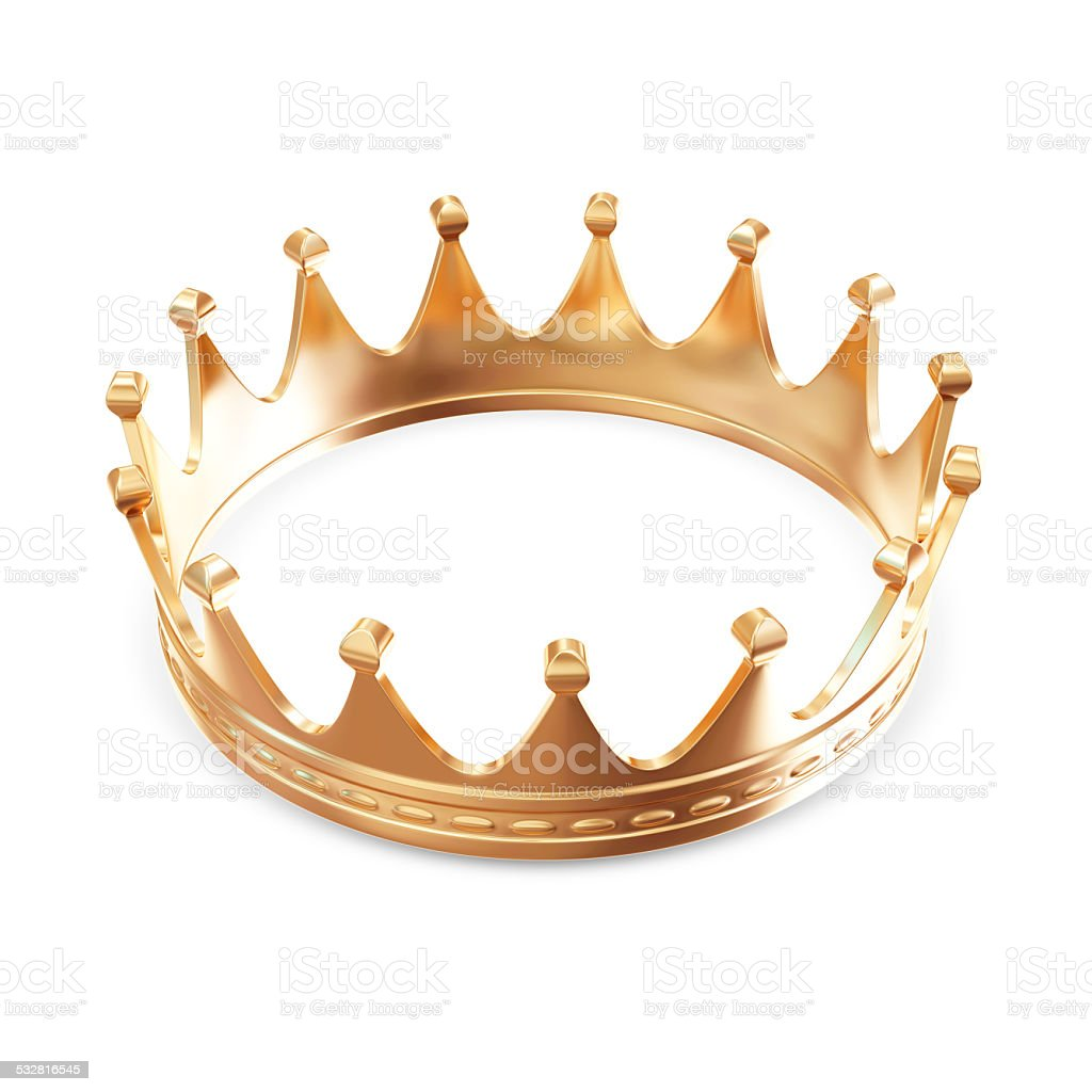 Golden Crown isolated on white background stock photo
