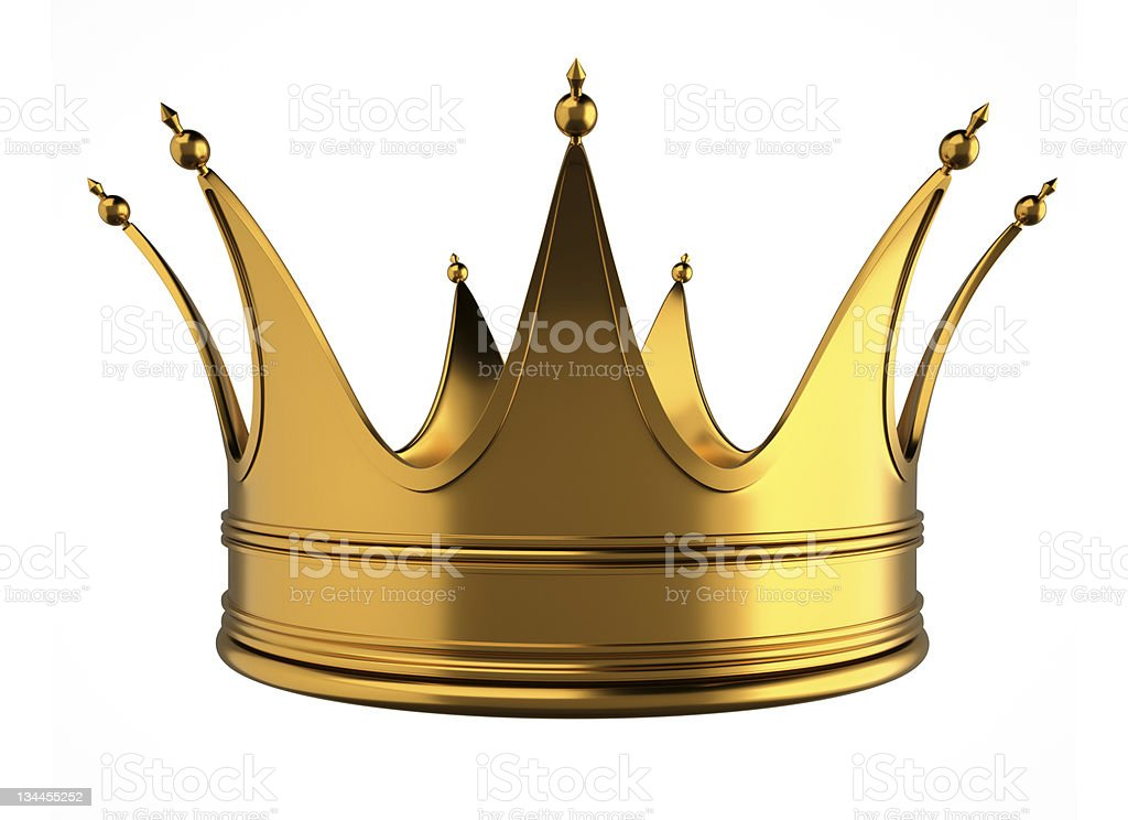 A golden crown on a white isolated background royalty-free stock photo