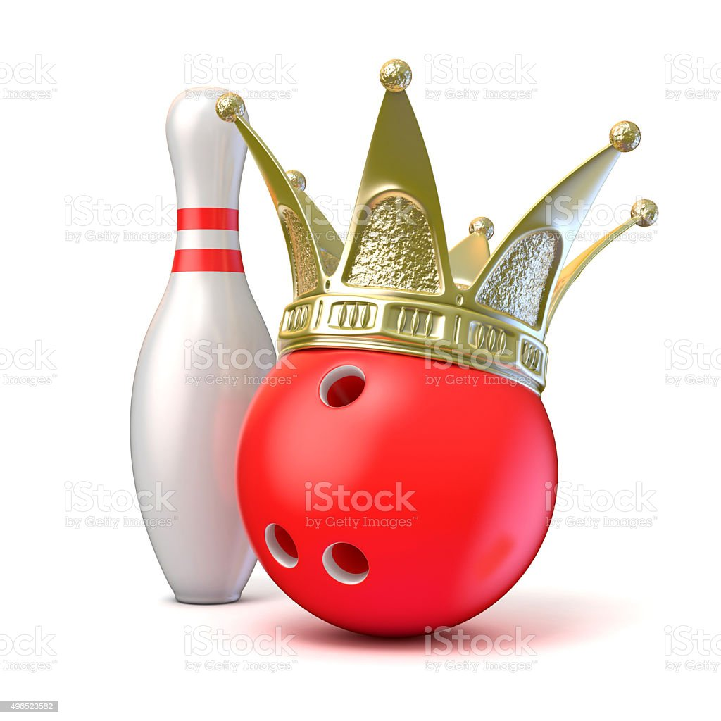 Golden crown on bowling ball and pin. 3D render stock photo