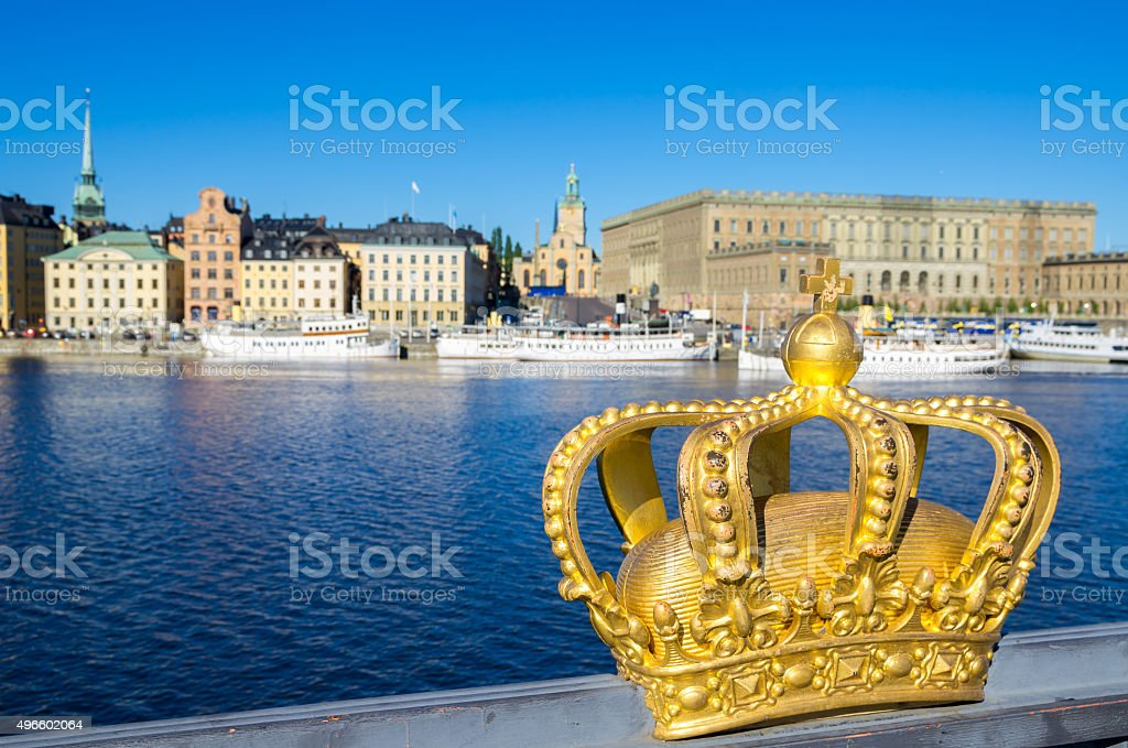 Golden crown. Stockholm, Sweden stock photo