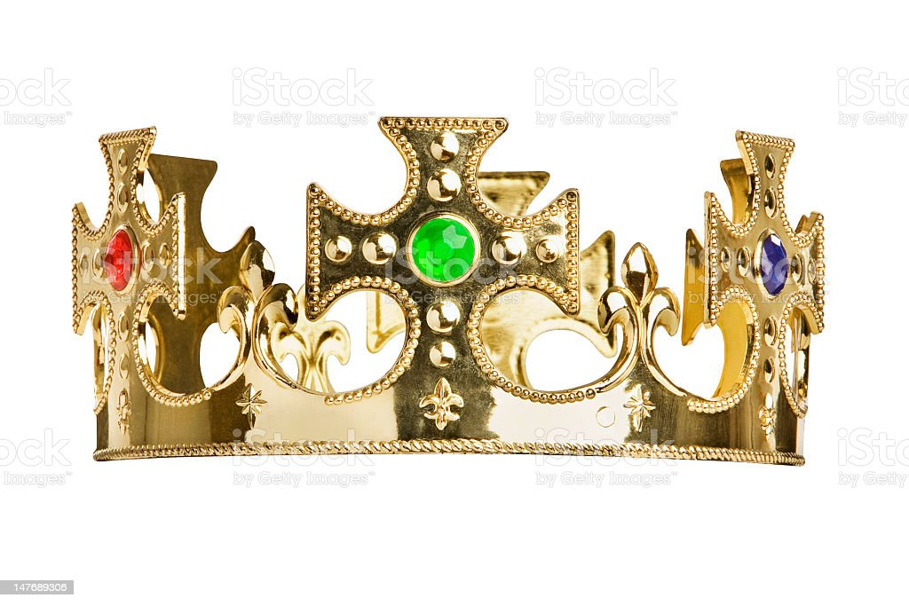 A golden crown with gems on a white background royalty-free stock photo