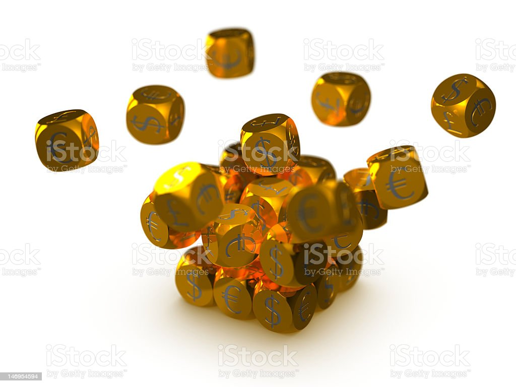 Golden cubes with currency symbols royalty-free stock photo