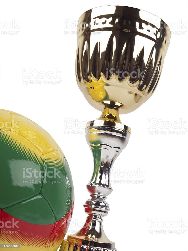 Golden cup and ball royalty-free stock photo