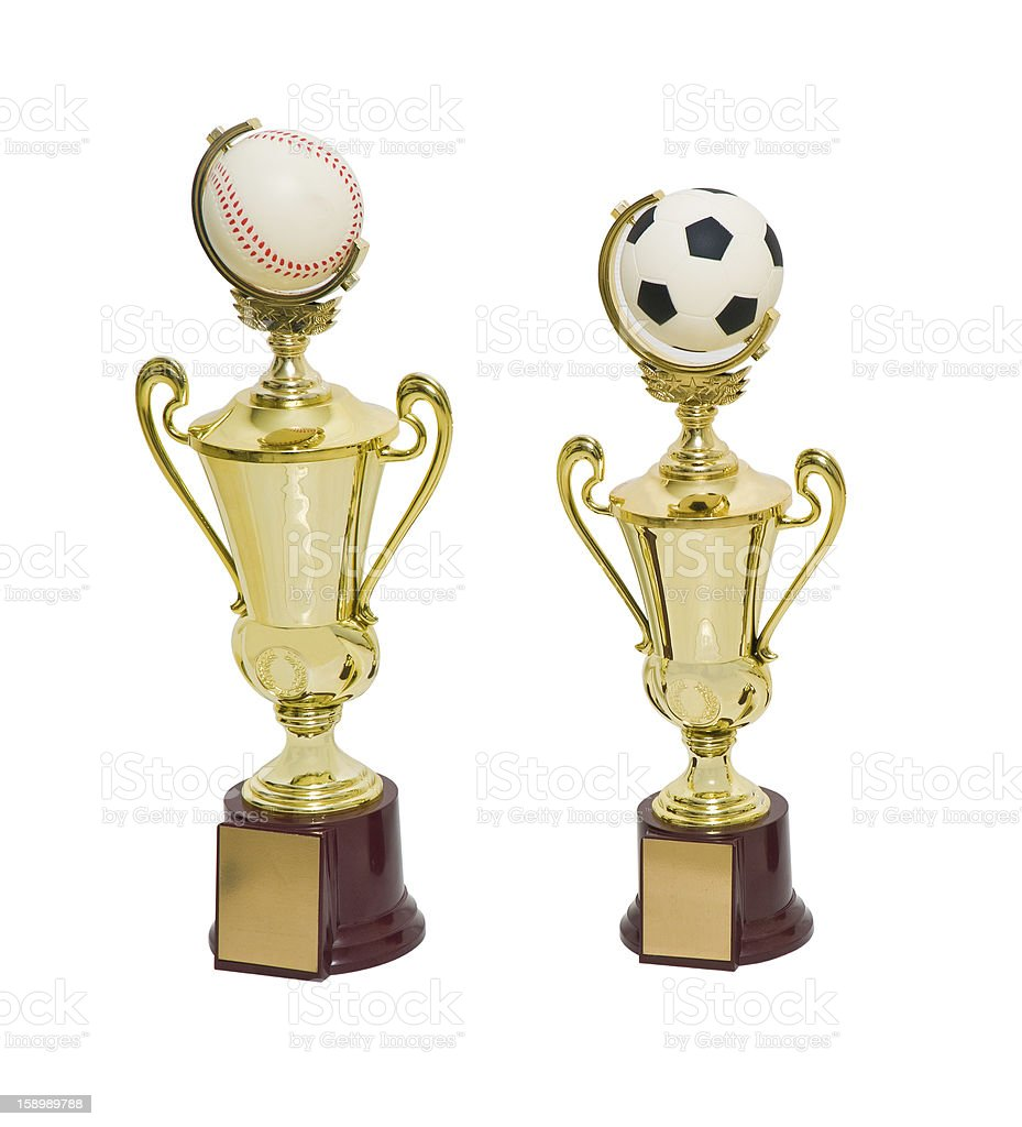 Golden Cup to winner baseball and soccer games royalty-free stock photo