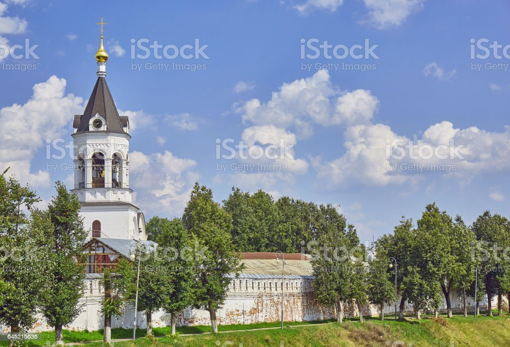 Golden cupola of orthodox church under sunny cloudy sky in Vladimir stock photo