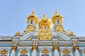 Golden cupolas of Catherine Palace church.