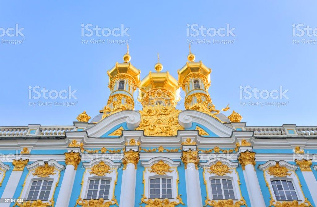 Golden cupolas of Catherine Palace church. stock photo