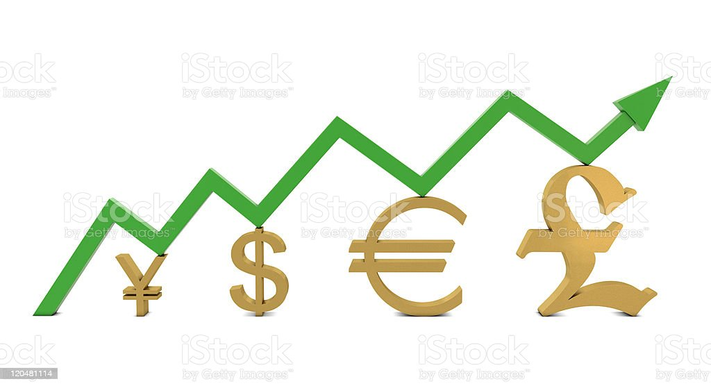 Golden currencies symbols and green growth line royalty-free stock photo