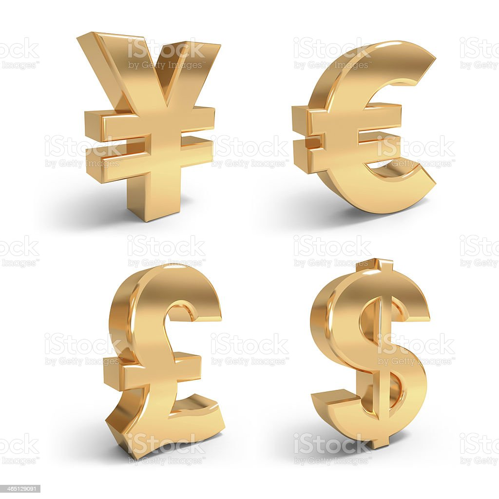 Golden currency symbols. stock photo