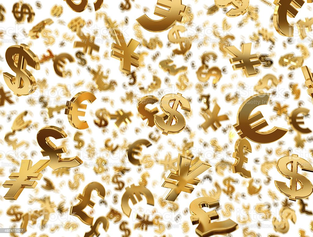 Golden currency symbols raining. stock photo
