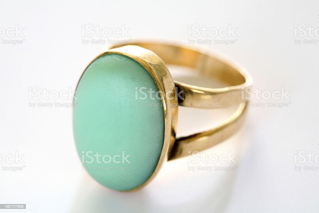 Golden cyan ring royalty-free stock photo