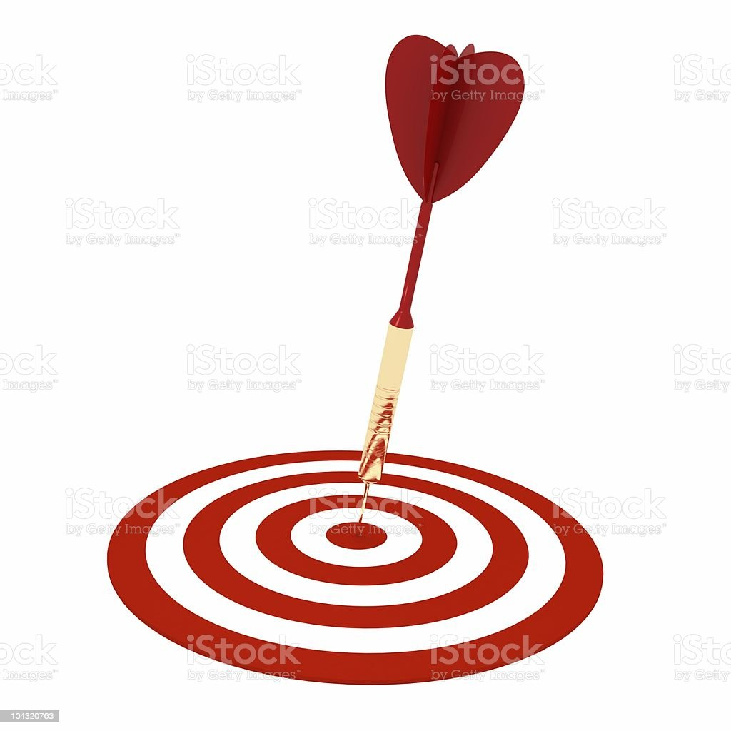 Golden Dart on Target royalty-free stock photo
