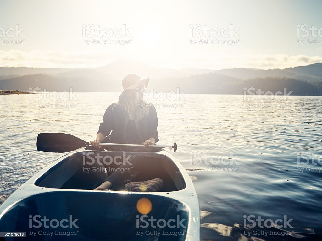 Golden days out on the lake stock photo