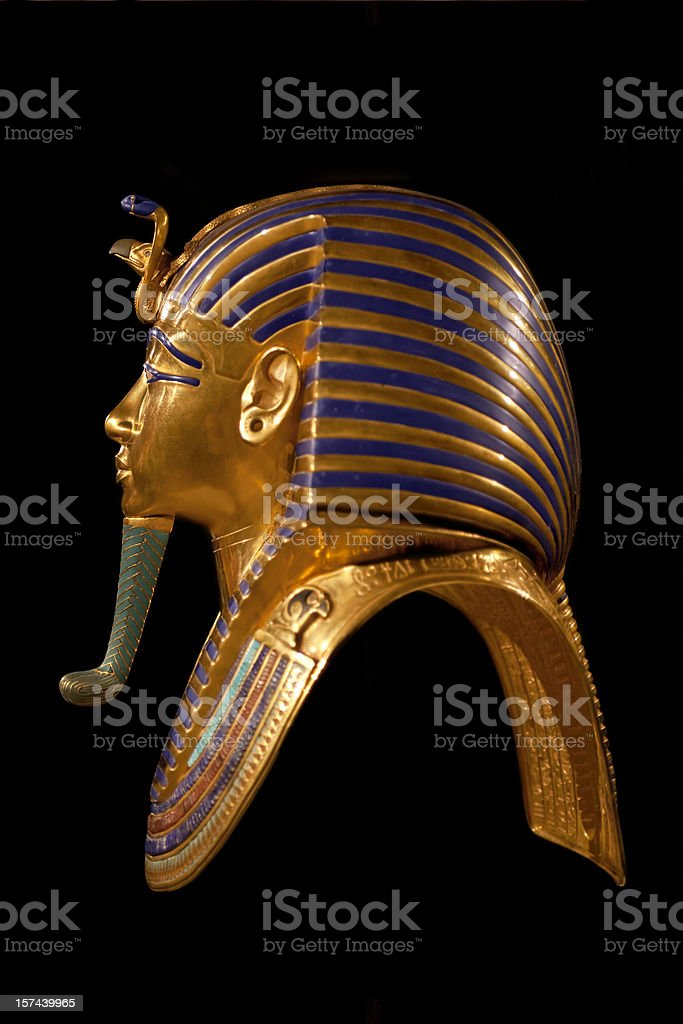 Golden death mask of egypt pharaoh Tutankhamun stock photo