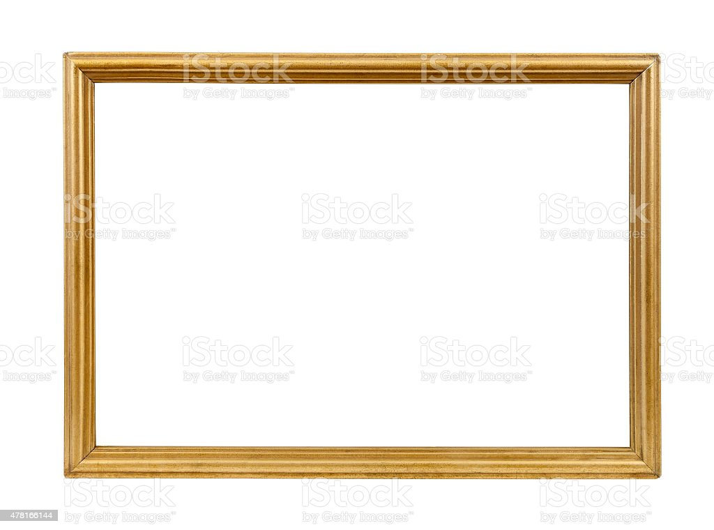 Golden decorative empty picture frame stock photo