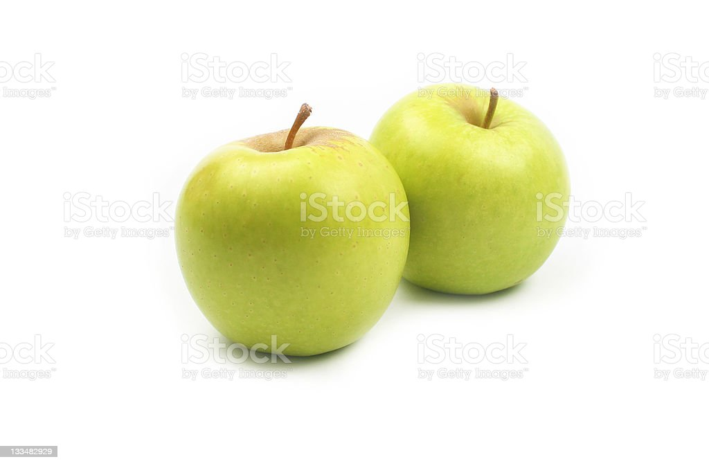 Golden delicious apples isolated on white background stock photo