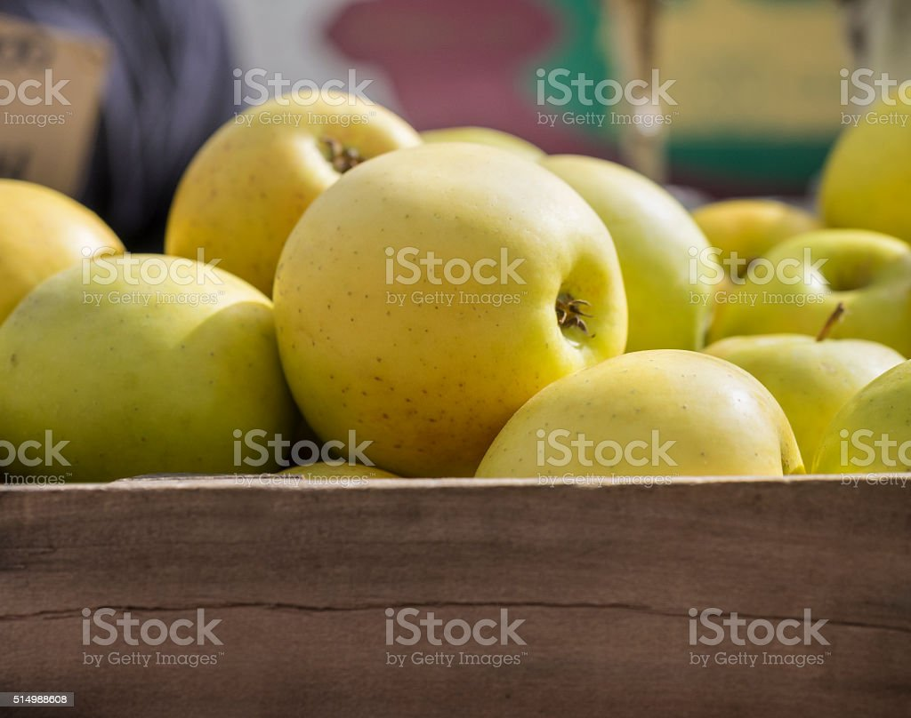 Golden Delicous Apples in a Farmers Market Crate stock photo