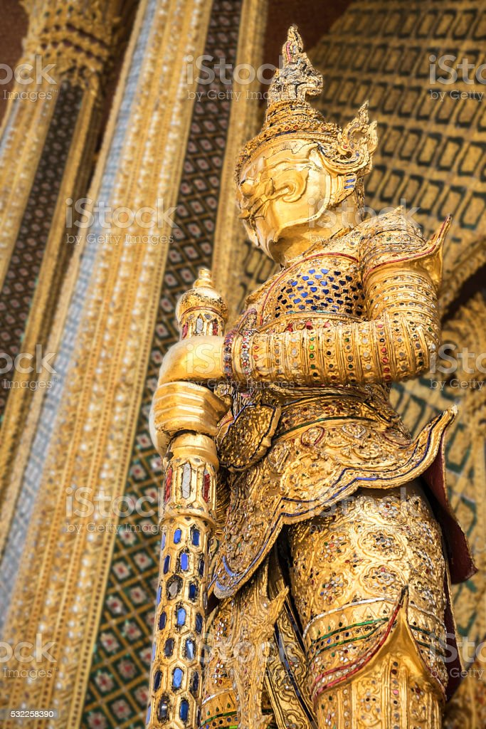 Golden Demon Warrior, Royal Palace, Bangkok stock photo