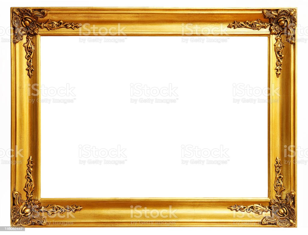 A golden detailed extra large rectangular frame stock photo