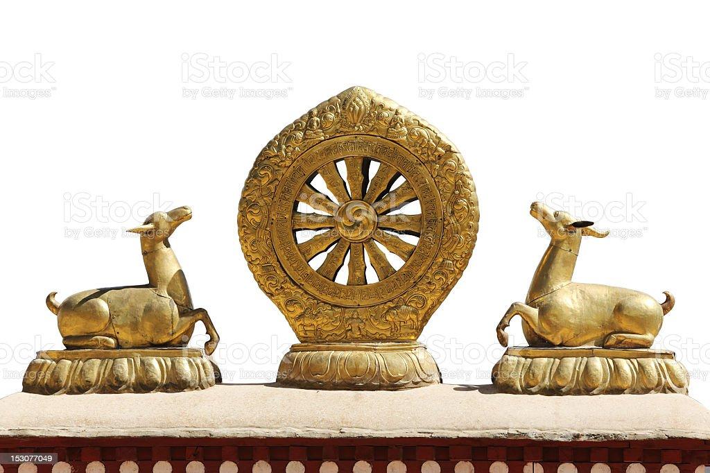 Golden Dharma Wheel on white background stock photo