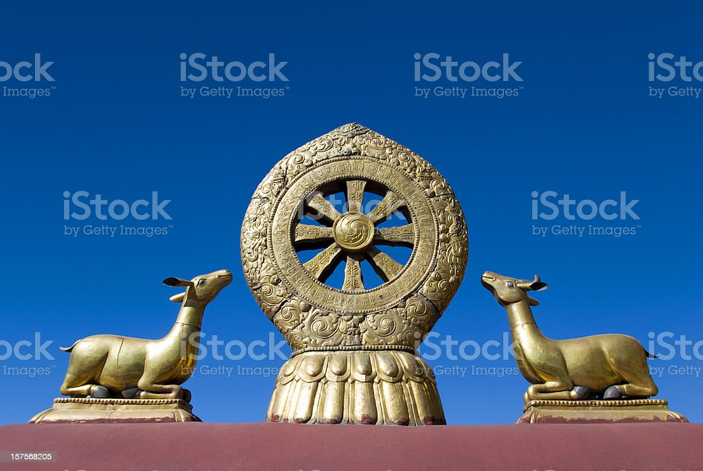 Golden Dharma Wheel stock photo