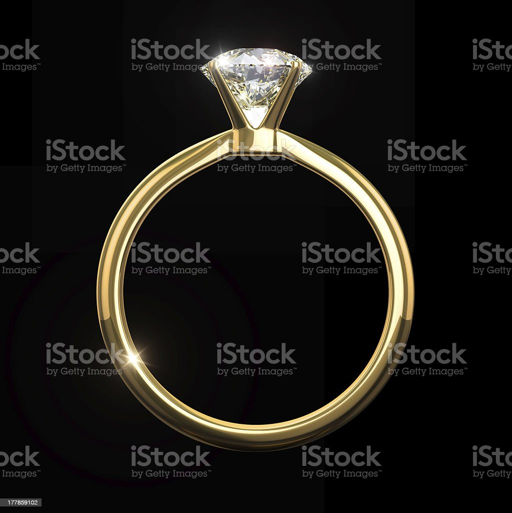 Golden diamond ring royalty-free stock photo