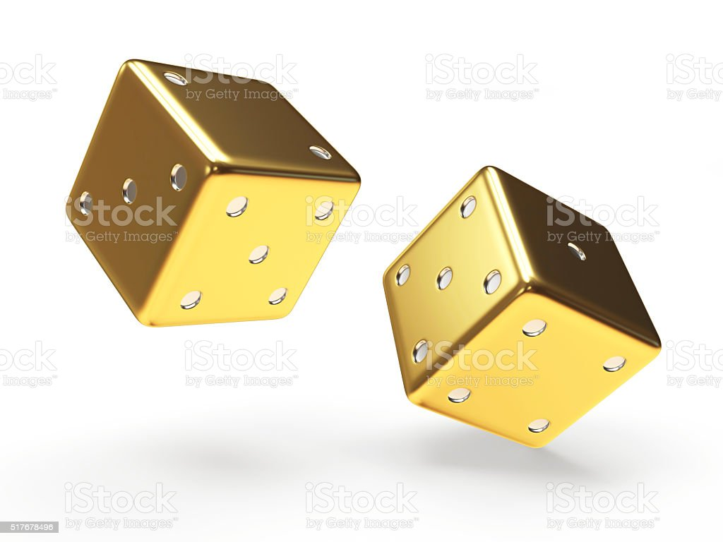 Golden dice cubes on white stock photo