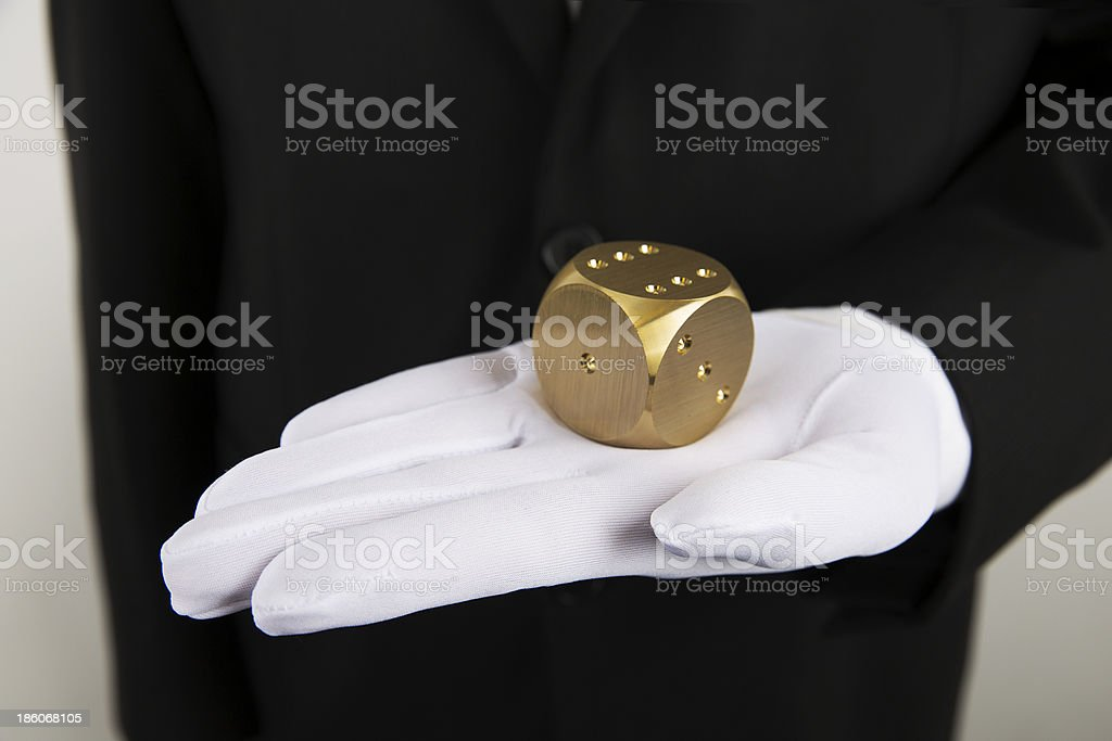 Golden Dice in Palm royalty-free stock photo